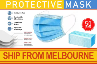 3-Ply Disposable Face Mask Protective Respirator (50 Pack)