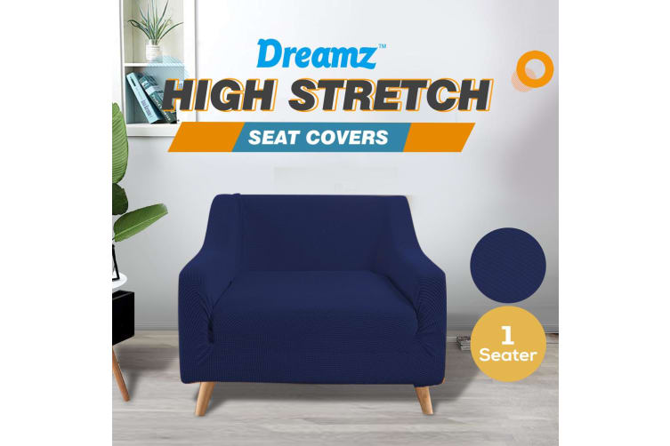 Dreamz Couch Stretch Sofa Lounge Cover Protector Slipcover 1 Seater Navy New