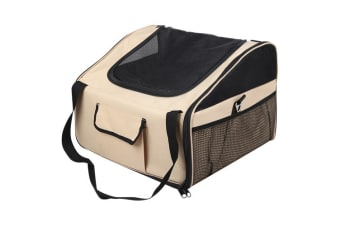 Pet Dog Cat Car Seat Carrier Travel Bag Small (Beige)