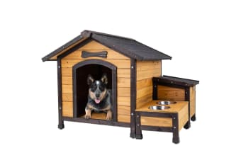 NEATAPET Dog House Kennel Pet Timber Wooden Stainless Steel Bowls Storage Box