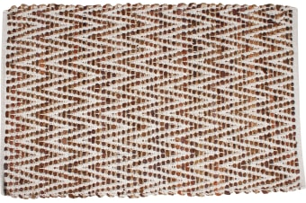 Raksha Cotton & Leather Hand Knit Rug Chevron