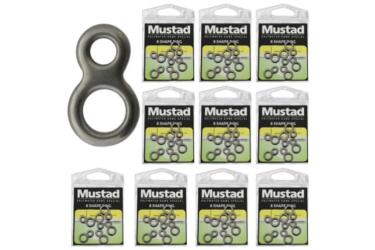 10 x Packets of Large Mustad Stainless Steel 8-Shaped Rings - Figure of Eight Fishing Rings