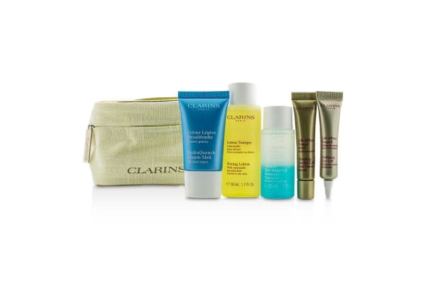 Clarins Travel Set: Toning Lotion 50ml+Eye Make Up Remover 30ml+HydraQuench Cream 15ml+Contouring Serum 10ml+Defining Eye Lift 8ml (5pcs+1Bag)
