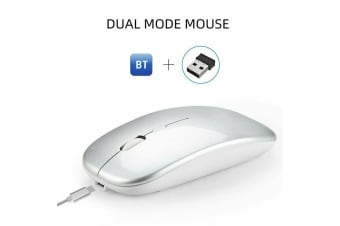 Ultra-Thin Bluetooth Wireless Rechargeable Mouse Optical Cordless Mice 1600 DPI-Silver