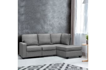 Artiss 5 Seater Sofa Bed Lounge Chair Chaise Suite Corner Couch Fabric Dark Grey
