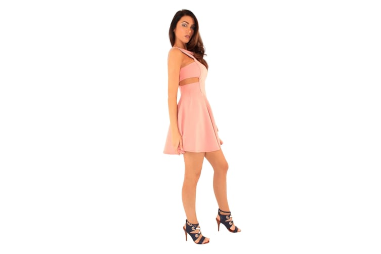 Ly Womens/Ladies Regent Street Cut Out Skater Dress (Dusty Pink) (14 UK)