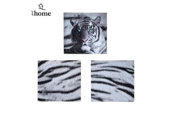 Set of 3 Printed Blue Eyes Stripes Tiger Wall Canvas