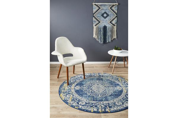 Hazel Navy & Yellow Durable Vintage Look Round Rug 200x200cm