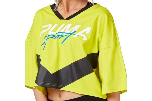 Puma Women's Xtreme Cropped V-Neck Top (Sulfur Spring, Size XS)