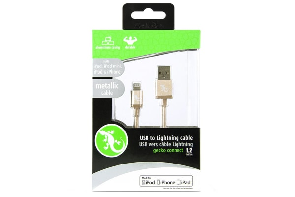 Gecko Metallic Lightning Cable - Gold