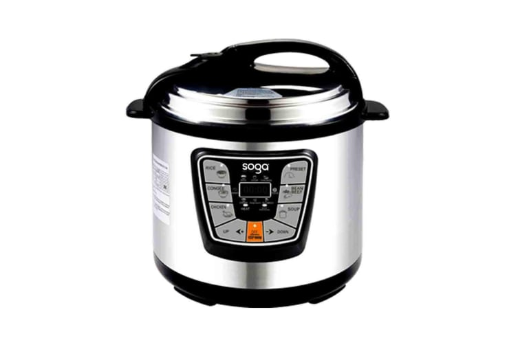 SOGA Stainless Steel Electric Pressure Cooker 10L Nonstick 1600W 12 Month Warranty