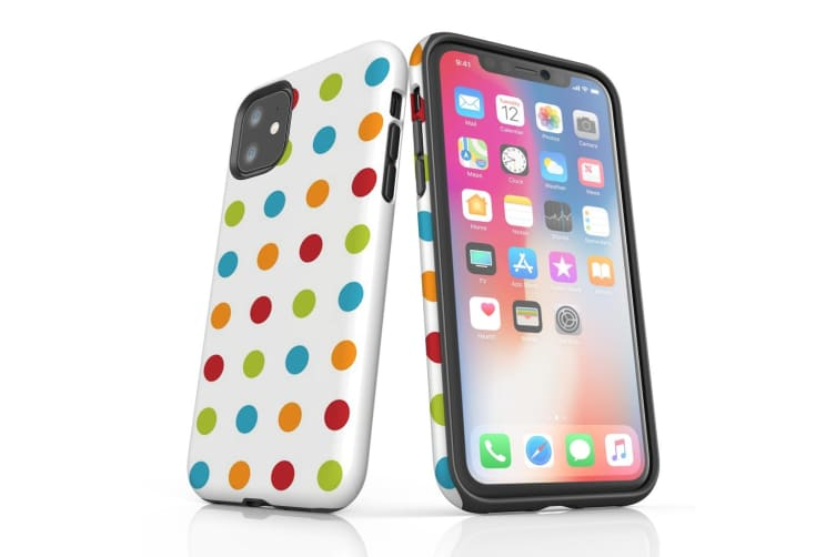 For iPhone 11 Protective Case Unique Phone Cover  Polka Dot Multicolours
