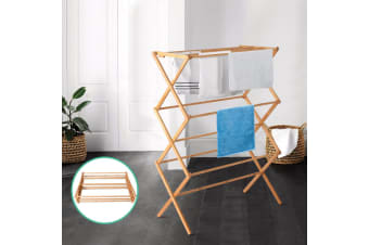 Artiss Clothes Airer Rack Coat Towel Dryer Foldable Bamboo Hanger Laundry Stand