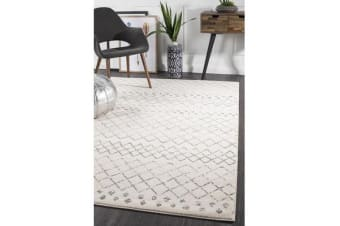 Amelia Bone Ivory & Grey Diamond Durable Rug
