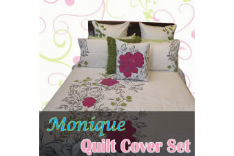 Monique Embroidery Quilt Cover Set QUEEN