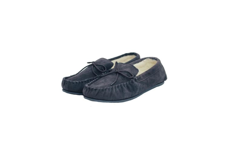 Eastern Counties Leather Unisex Wool-blend Hard Sole Moccasins (Navy) (10 UK)