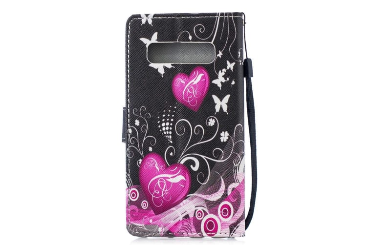 For Samsung Galaxy S10 Plus Case  Peach Heart Pattern Folio Leather Wallet Cover