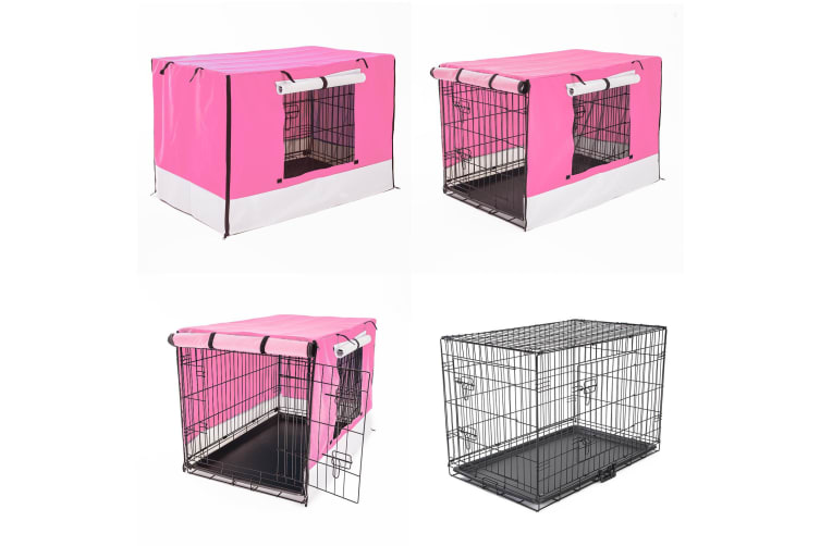 """Foldable Metal Wire Dog Cage w/ Cover - PINK 36"""""""