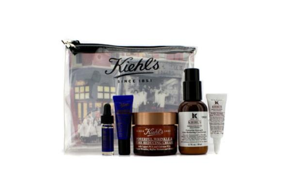 Kiehl's Powerful Wrinkle Anti-Aging Set: Powerful Cream 50ml + Concentrate 50ml + Wrinkle Filler 5ml + Concentrate 4ml + Recovery Eye 3ml + Bag (5pcs+1bag)