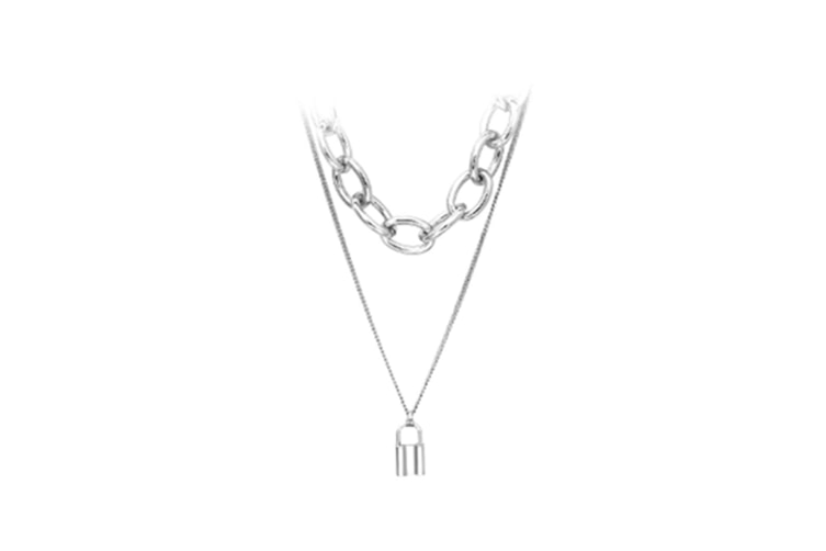 Multi-Layer Lock Necklace Female Personality Creative Metal Sweater Chain - Silver Silver