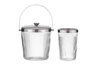 2pc Society Home Kensington Wine Bottle Drink Cooler Ice Bucket w  Lid Clear SL