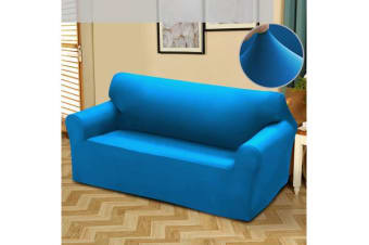 Easy Fit Stretch 2 Seater Couch Sofa Slipcover Protector Cover BLUE