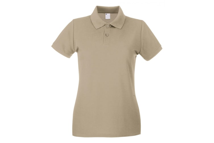 Womens/Ladies Fitted Short Sleeve Casual Polo Shirt (Sand) (X Small)