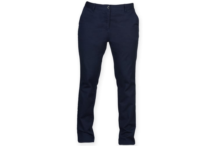 Front Row Womens/Ladies Cotton Rich Stretch Chino Trousers (Navy) (S)