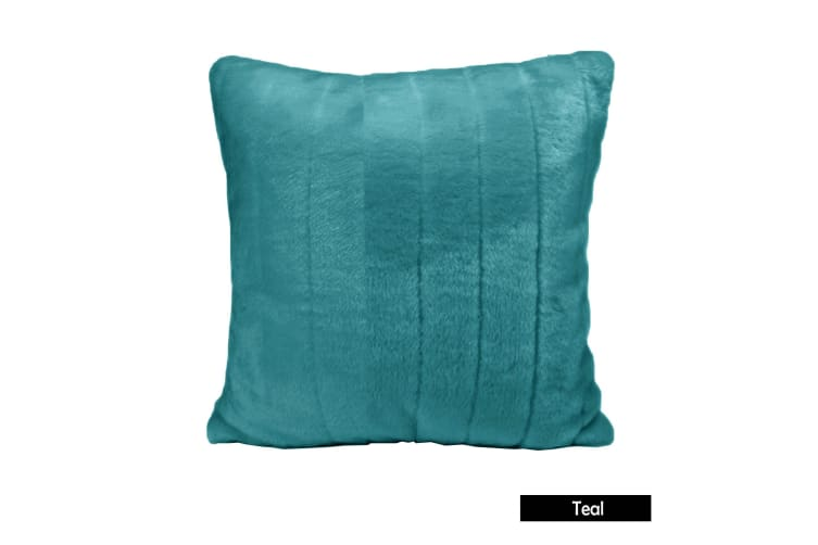 Faux Fur Mink Filled Cushion Teal