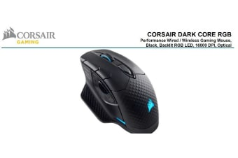 Corsair DARK CORE RGB Gaming Mouse - Black, Wired, Wireless,  Backlit RGB LED,