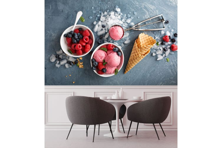 3D Strawberry Blueberry Ice Cream 41 Self-adhesive Vinyl, XL 208cm x 146cm (WxH)(82''x58'')