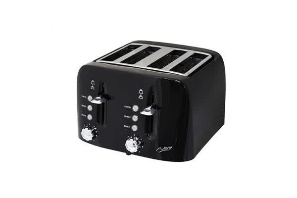 Nero Toaster 4 Slice Square Black 1900W w/Adjustable browning control