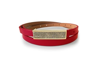 Leather Belt With Yellow Gold Buckle Red-Leather/Red
