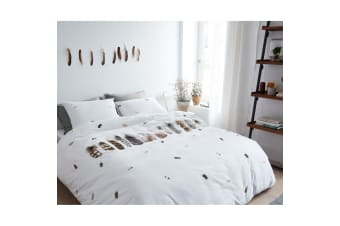 Wild Feathers White Cotton Percale Quilt Cover Set by Bedding House