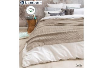 Cotton Waffle Weave Blanket Queen/King Latte by Bambury