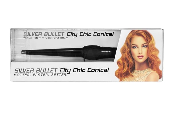 Silver Bullet City Chic Black Ceramic Conical Curling Iron - 13mm-25mm (900678)