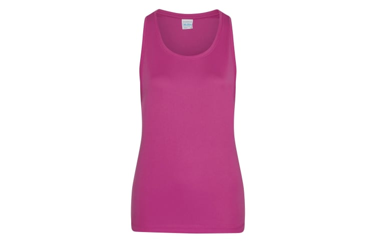 AWDis Just Cool Womens/Ladies Girlie Smooth Sports Sleeveless Vest (Hot Pink) (L)