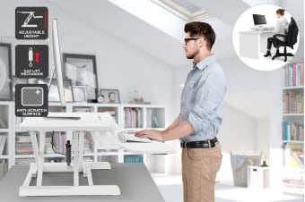 Ergolux Pro Height Adjustable Sit Stand Desk Riser (White)