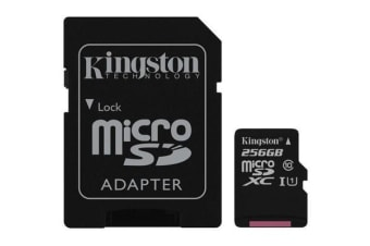 Kingston 256GB microSDXC Canvas Select 80R CL10 UHS-I Card + SD Adapter