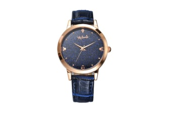 Select Mall Creative Stainless Steel and Leather Casual Quartz Watch Fashion Trend Cute Student Shiny Quartz Watch-Blue