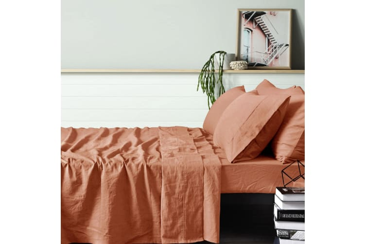 100% Linen Burnt Melon Sheet Set DOUBLE