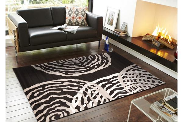Modern Ripples Rug - Black 230x160cm