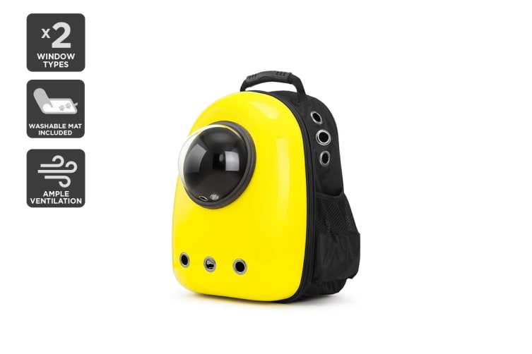 Pet Window Carrier Backpack (Yellow)