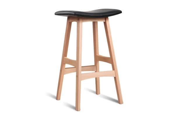 Set of 2 Beech Backless Wood Barstool (Black)