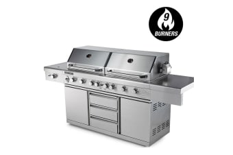 EuroGrille 9 Burner BBQ Grill Outdoor Barbeque Gas 100% Stainless Steel Kitchen