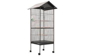 vidaXL Bird Cage with Roof Grey 66x66x155 cm Steel
