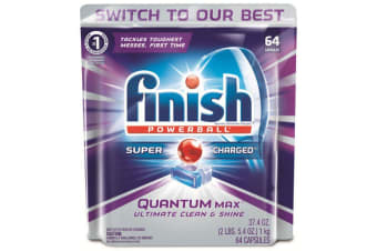 64PK Finish Tabs Quantum Max Powerball Super Charged for Dishwashing/Dishwasher