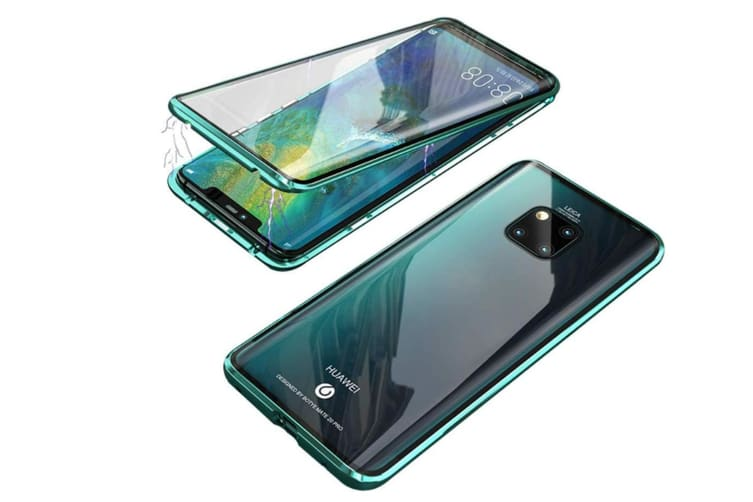 WJS 360 Degree Transparent Tempered Glass Cover Strong Magnetic Adsorption Technology Metal Bumper Compatible with Huawei-mate20