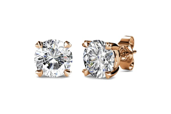 2 Pairs Solitaire Studs Earrings Set w/Swarovski Crystals-White Gold/Clear