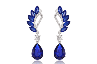 Reinston Luxury Crystal Dangle Earrings  Blue